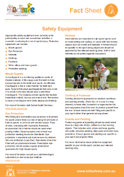 Safety Equipment Fact Sheet
